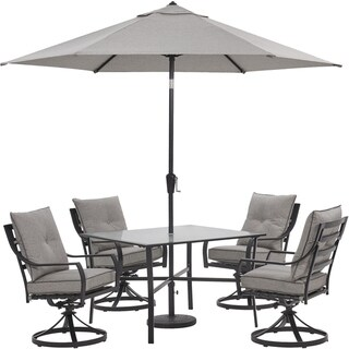 Hanover Lavallette 5-Piece Dining Set in Silver Linings with 4 Swivel Rockers, 42-In. Square Glass-Top Table, Umbrella, and Base