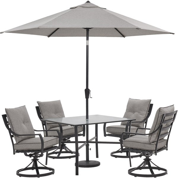 2651371faaf9 Hanover Lavallette 5-Piece Dining Set in Silver Linings with 4 Swivel  Rockers, 42