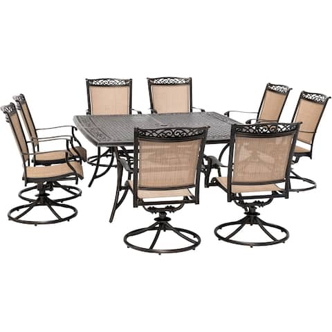 Hanover Fontana 9-Piece Outdoor Dining Set with 8 Sling Swivel Rockers and a 60-In. Square Cast-Top Table