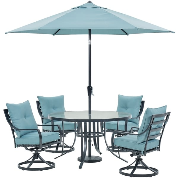 Hanover Lavallette 5-Piece Dining Set in Ocean Blue with 4 Swivel Rockers, 52-In. Round Glass-Top Table, Umbrella, and Base