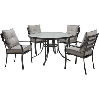 Hanover Lavallette 5-Piece Dining Set in Silver Linings with 4 Stationary Chairs and a 52-In. Round Glass-Top Table