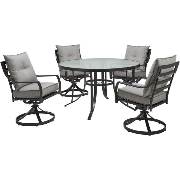 Hanover Lavallette 5-Piece Dining Set in Silver Linings with 4 Swivel Rockers and a 52-In. Round Glass-Top Table