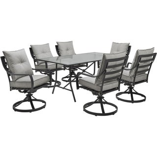 """Hanover Lavallette 7-Piece Dining Set in Silver Linings with 6 Swivel Rockers and a 66"""" x 38"""" Glass-Top Table"""