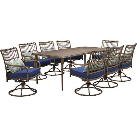 Hanover Summerland 9-Piece Outdoor Dining Set with 8 Swivel Rockers and a 82 x 40 Faux-Wood Table