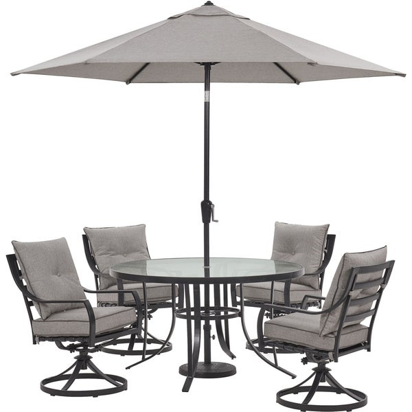 Hanover Lavallette 5-Piece Dining Set in Silver Linings with 4 Swivel Rockers, 52-In. Round Glass-Top Table, Umbrella, and Base