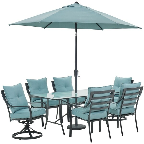 "Hanover Lavallette 7-PC. Dining Set in Ocean Blue w/ 4 Chairs, 2 Swivel Rockers, 66"" x 38"" Glass-Top Table, Umbrella, and Base"