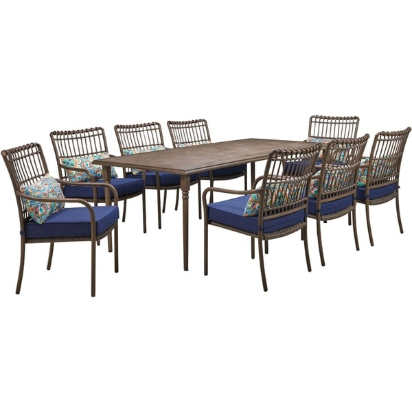 Hanover Summerland 9-Piece Outdoor Dining Set with 8 Stationary Chairs and a 82 x 40 Faux-Wood Table