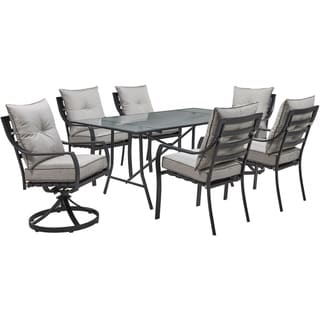 "Hanover Lavallette 7-Piece Dining Set in Silver Linings with 4 Chairs, 2 Swivel Rockers, and a 66"" x 38"" Glass-Top Table"