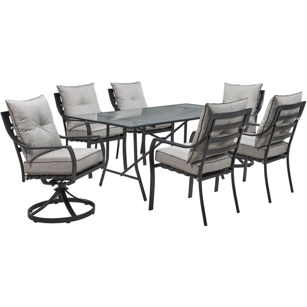 """Hanover Lavallette 7-Piece Dining Set in Silver Linings with 4 Chairs, 2 Swivel Rockers, and a 66"""" x 38"""" Glass-Top Table"""