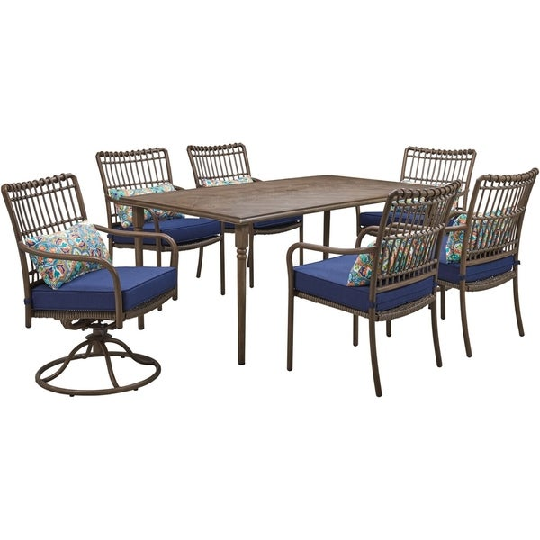 Hanover Summerland 7-Piece Outdoor Dining Set with 4 Stationary Chairs, 2 Swivel Rockers, and a 68 x 40 Faux-Wood Table