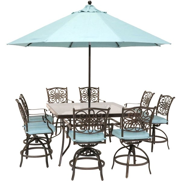 Hanover Traditions 9-Piece High-Dining Set in Blue with 8 Swivel Chairs, a 60 In. Square Glass-Top Table, Umbrella and Stand