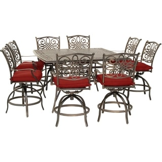 Hanover Traditions 9-Piece High-Dining Set in Red with 8 Swivel Chairs and a 60 In. Square Cast-Top Table
