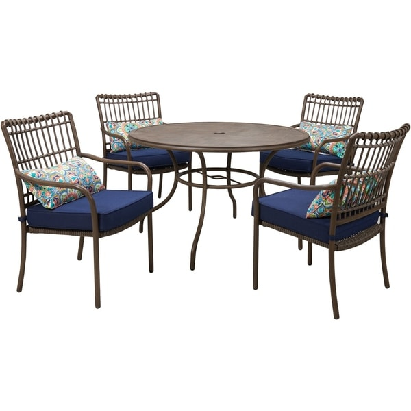 Hanover Summerland 5-Piece Outdoor Dining Set with 4 Stationary Chairs and a 48-In. Round Faux-Wood Table