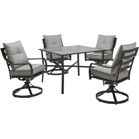 Hanover Lavallette 5-Piece Dining Set in Silver Linings with 4 Swivel Rockers and a 42-In. Square Glass-Top Table
