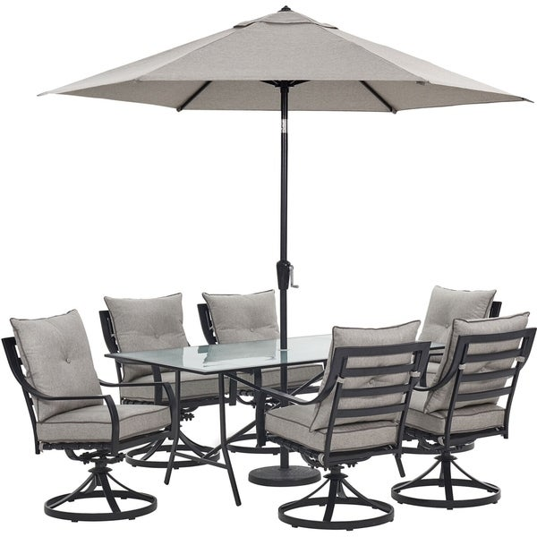 bd9e86b4cedd Hanover Lavallette 7-Piece Dining Set in Silver Linings with 6 Swivel  Rockers, 66