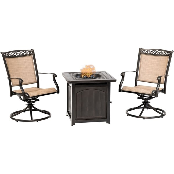 Shop Hanover Fontana 3-Piece Fire Pit Chat Set with 2 ...
