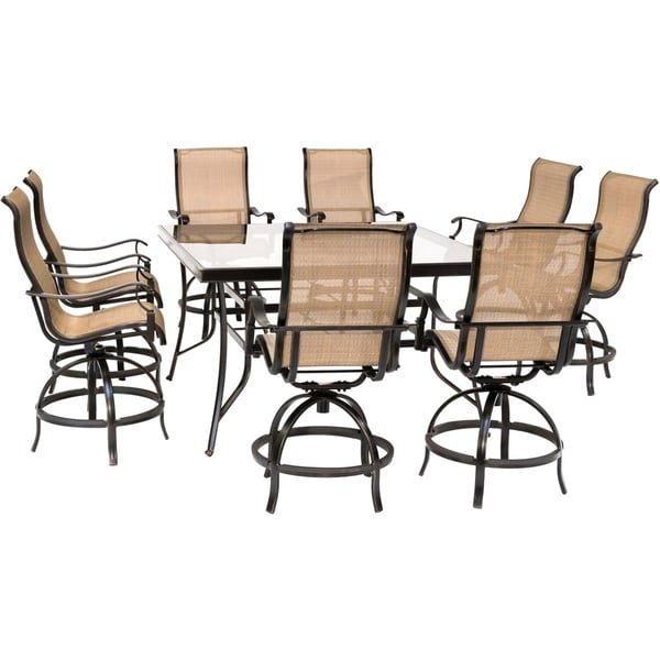 Hanover Monaco 9-Piece Counter-Height Outdoor Dining Set with 8 Sling Swivel Chairs and a 60-In. Square Glass-Top Table