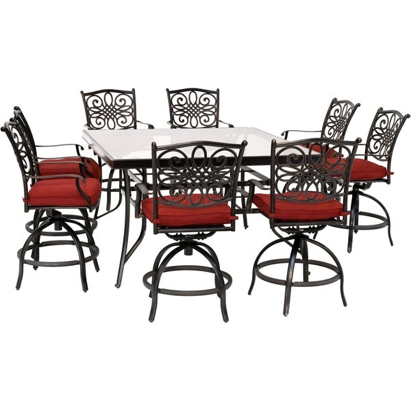 Hanover Traditions 9-Piece High-Dining Set in Red with 8 Swivel Chairs and a 60 In. Square Glass-Top Table
