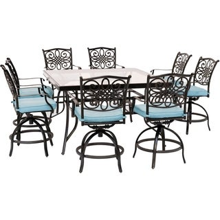 Hanover Traditions 9-Piece High-Dining Set in Blue with 8 Swivel Chairs and a 60 In. Square Glass-Top Table