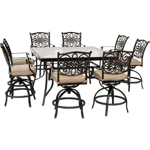 Hanover Traditions 9-Piece High-Dining Set in Natural Oat with 8 Swivel Chairs and a 60 In. Square Glass-Top Table