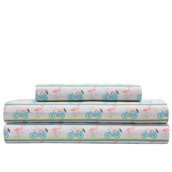 Microfiber Whimsical Flamingo Bike Ride Bed Sheet Set. Opens flyout.