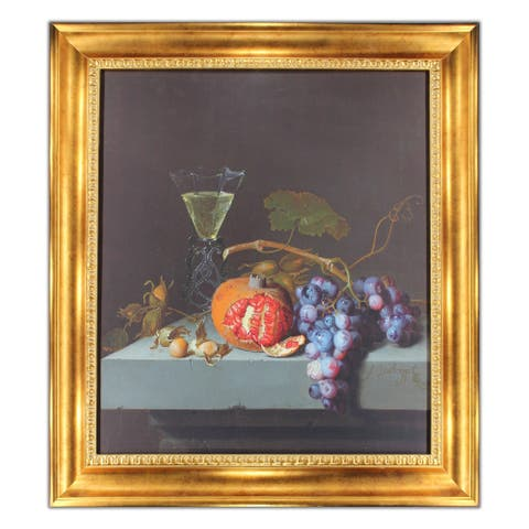 Still Life with Fruits by Jacob Van Ruisdael Oil Painting Gold Frame 27 x 31 Print on Canvas