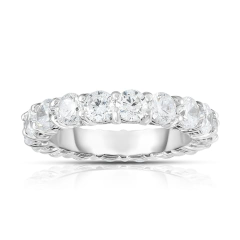 Noray Designs 14K White Gold Diamond (4.00 Ct-4.40 Ct, G-H Color, SI2-I1 Clarity) Eternity Ring