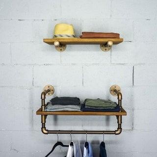 "Furniture Pipeline Austin 24"" - 33"" Wide Set of 2 Wall Shelf Rack"