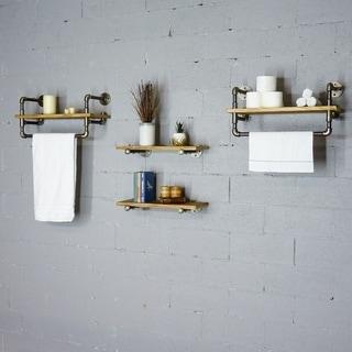 """Furniture Pipeline Seattle 24"""" - 33"""" Wide Set of 4 Wall Shelf Rack"""