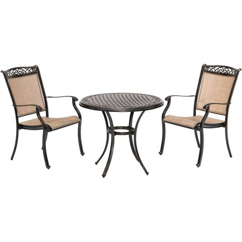 Fontana 3-Piece Bistro Set with 2 Sling Chairs and a 32-In. Cast-Top Table