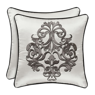 Five Queens Court Carleigh 18 Inch Square Embellished Decorative Throw Pillow