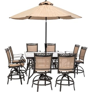 Hanover Fontana 9-Piece Counter-Height Outdoor Dining Set with 8 Sling Swivel Chairs, 60In. Glass Table, Umbrella, and Stand