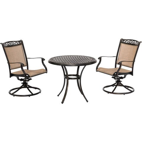 Fontana 3-Piece Bistro Set with 2 Sling Swivel Rockers and a 32-In. Cast-Top Table