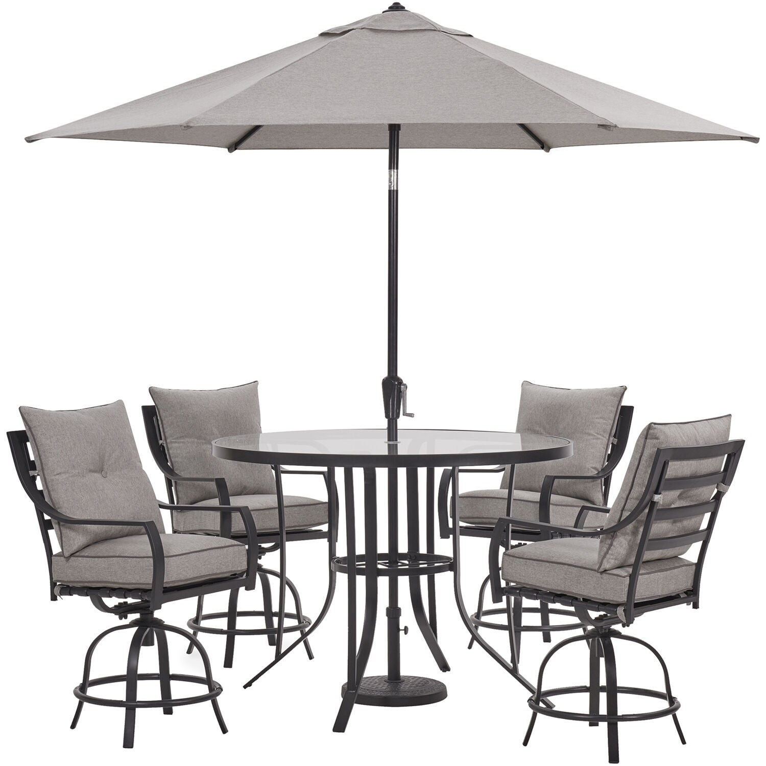 Hanover Lavallette 5 Pc Counter Height Dining Set W 4 Swivel Chairs 52 In Round Glass Table Umbrella Base