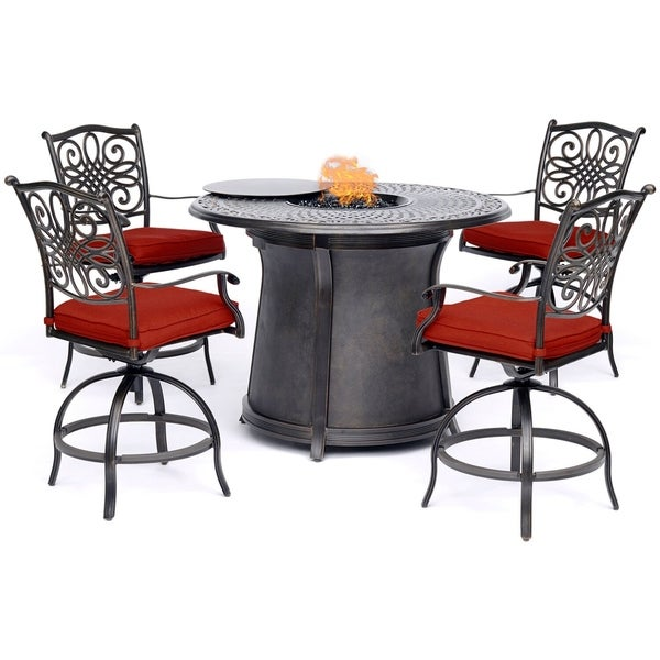 Hanover Traditions 5-Piece High-Dining Set in Red with 4 Swivel Chairs and a 40,000 BTU Cast-top Fire Pit Table