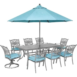 Hanover Traditions 9-Piece Dining Set with 6 Stationary Chairs, 2 Swivel Rockers, 42 x 84 Dining Table, Umbrella and Stand