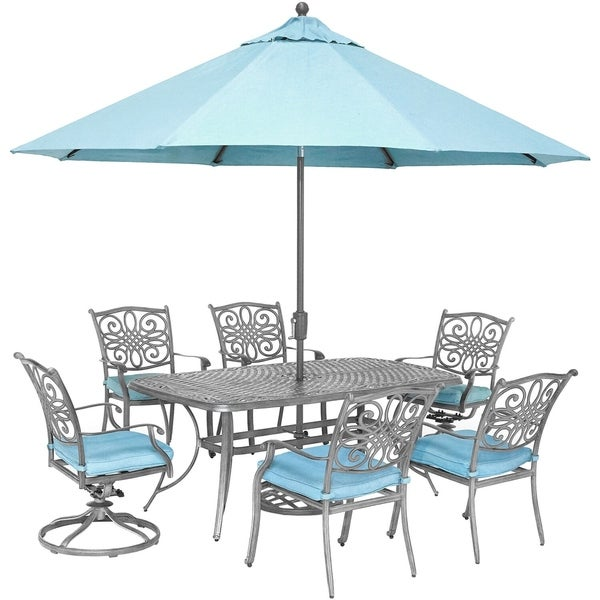 Hanover Traditions 7 Piece Gray Patio Dining Set With 4 Chairs 2 Swivel Rockers