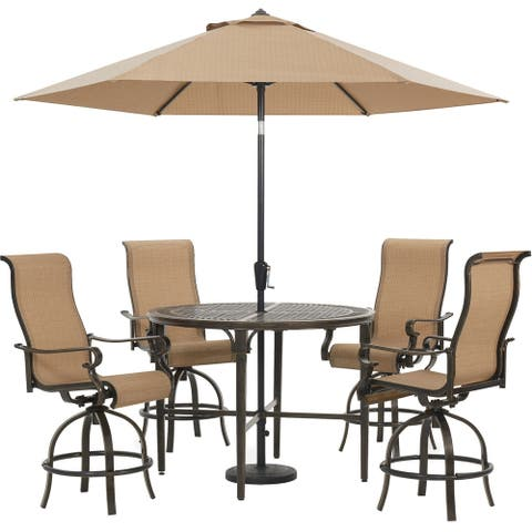 Hanover Brigantine 5-Piece Outdoor High-Dining Set with 4 Sling Swivel Chairs, 50-In. Round Table, 9-Ft. Umbrella, and Base