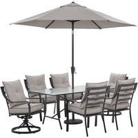 """Hanover Lavallette 7-PC. Dining Set in Silver Linings w/ 4 Chairs, 2 Swivel Rockers, 66"""" x 38"""" Glass Table, Umbrella, and Base"""