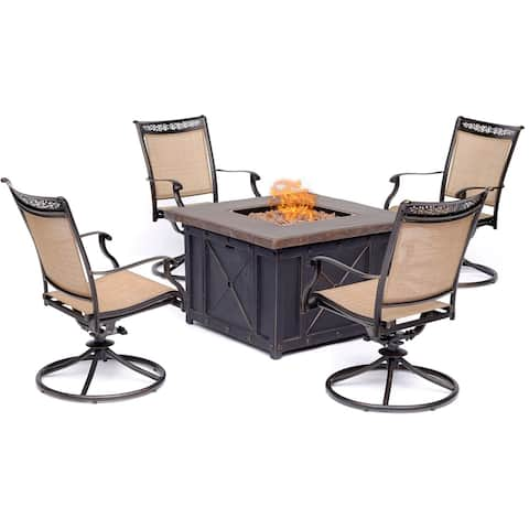 Hanover Fontana 5-Piece Fire Pit Chat Set with 4 Sling Swivel Rockers and a 40,000 BTU Gas Durastone Fire Pit Coffee Table