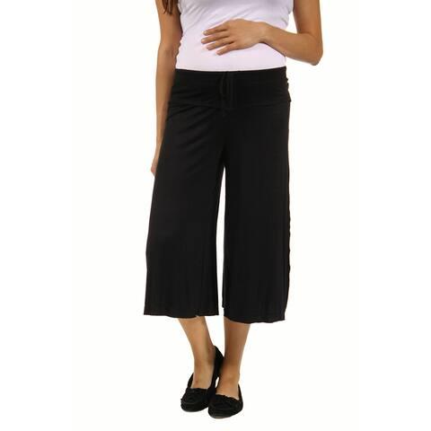 24seven Comfort Apparel Drawstring Maternity Gaucho Pants