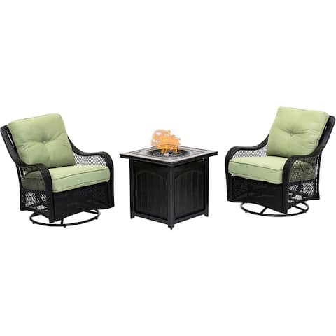 Hanover Orleans 3-Piece Fire Pit Chat Set in Green Jasmine with 2 Woven Swivel Gliders and a 26-In. Square Fire Pit Side Table