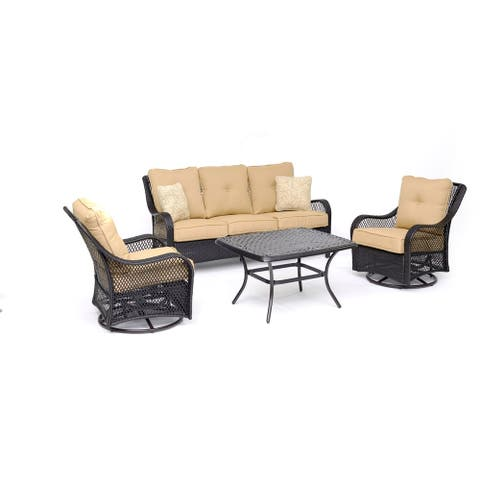 Hanover Orleans 4-Piece Woven Lounge Set in Sahara Sand with 2 Woven Swivel Gliders, Sofa, and a Cast-top Coffee Table