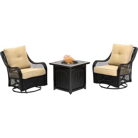 Hanover Orleans 3-Piece Fire Pit Chat Set in Sahara Sand with 2 Woven Swivel Gliders and a 26-In. Square Fire Pit Side Table