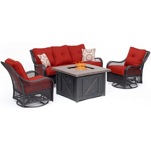 Hanover Orleans 4-Piece Woven Fire Pit Lounge Set in Autumn Berry with Sofa, 2 Swivel Gliders and Durastone Fire Pit