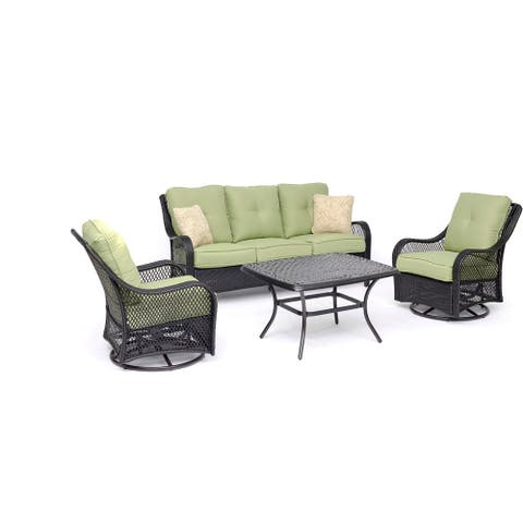Hanover Orleans 4-Piece Woven Lounge Set in Avocado Green with 2 Woven Swivel Gliders, Sofa, and a Cast-top Coffee Table