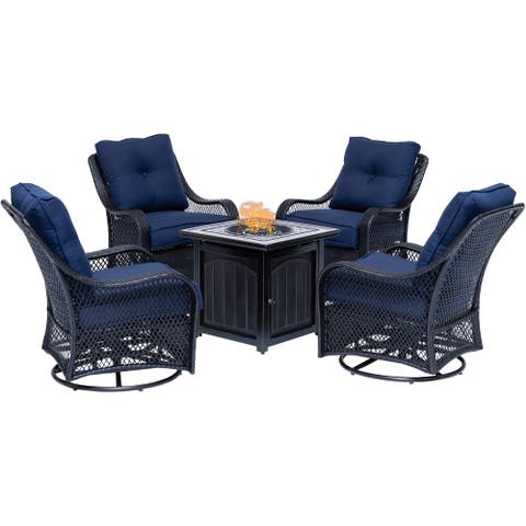 Hanover Orleans 5-Piece Fire Pit Chat Set in Navy Blue with 4 Woven Swivel Gliders and a 26-In. Square Fire Pit Table