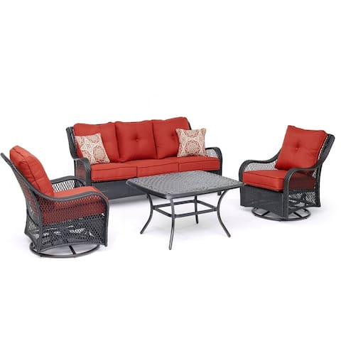 Hanover Orleans 4-Piece Woven Lounge Set in Autumn Berry with 2 Woven Swivel Gliders, Sofa, and a Cast-top Coffee Table