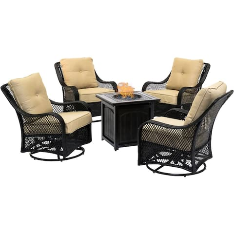 Hanover Orleans 5-Piece Fire Pit Chat Set in Sahara Sand with 4 Woven Swivel Gliders and a 26-In. Square Fire Pit Table