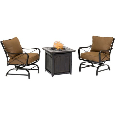 Hanover Summer Nights 3-Piece Set in Desert Sunset with 2 Cross-Back Rockers and Fire Pit Side Table